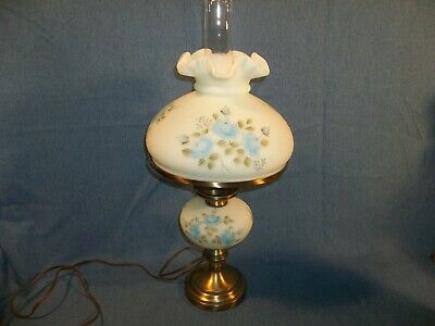 LAST LISTING Vintage Fenton SATIN Electric Lamp Hand Painted Signed G. Schlicher • 321.79£