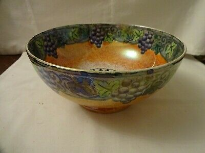 Vintage Art Deco Maling 5916 Grape & Butterfly Lustre Glazed Hand Painted Bowl  • 28£