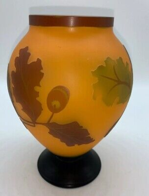 Vintage Hand-Etched CAMEO GLASS VASE With Leaves - Unsigned  • 104.67£