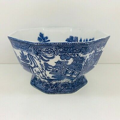 Antique Early Maling Cetem Ware Willow Pattern Octagonal Bowl. • 18.50£