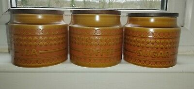 Hornsea Saffron Vintage Floral Tea Coffee Sugar Caddy Pots • 12.50£