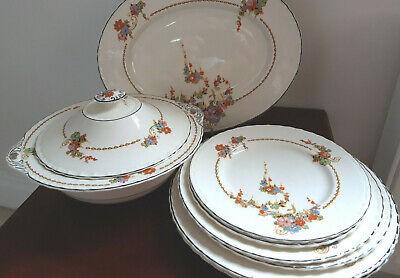 Vintage / Antique Myott 'Sunburst' 8 Pce / 2 Pers Dinner Set / Service • 25£