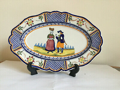 Henriot Quimper. Rare, Beautiful, Vintage Antique Oval Wall Plate, • 55£