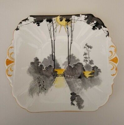 Shelley Art Deco Cake Plate ~ Tall Trees And Sunrise ~ Pattern 11678 ~ 1930's • 6.90£