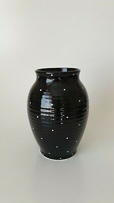 H J Wood Piazza Vase Black And White Polka Dots Vintage Pottery 1950s/60s #~W1 • 49.09£