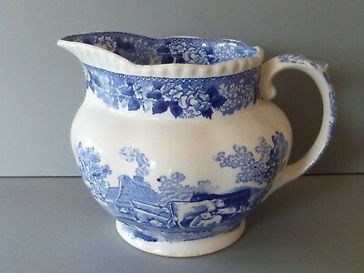 Adams Cattle Scenery Blue & White Jug Pitcher - 2 Pint Capacity • 29£