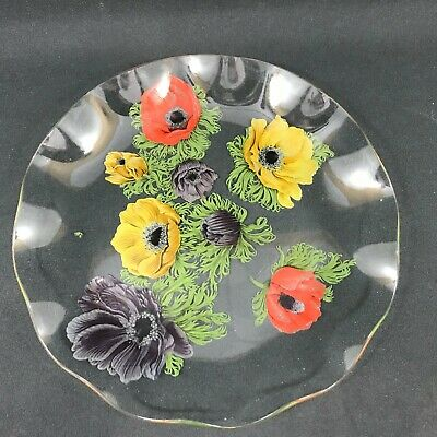 Vintage Retro Chance Clear Glass Floral Pattern Serving Dish • 6.50£