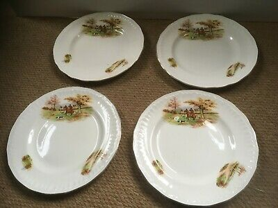 'Luxor ' Fox Hunting/Horse Themed Dinner Plates X 4 • 28£