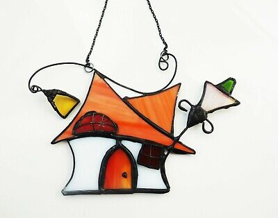 Stained Glass Tipsy Cottage Sun Catcher Decoration   • 18£
