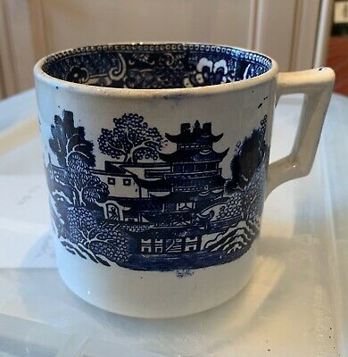 Blue & White Pottery Tankard Mug Large Willow Pattern Antique 19th Century • 14£