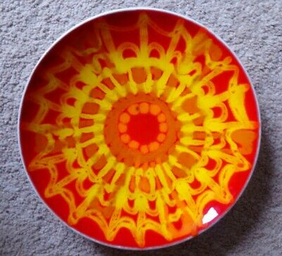 Poole Pottery Delphis ~ FOOTED PLATE  No.3 Vibrant Design & Colours Signed & VGC • 19£