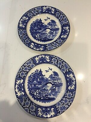 Pair Of Old Alton Ware Chinese Willow Pattern Tea Plates • 1.99£