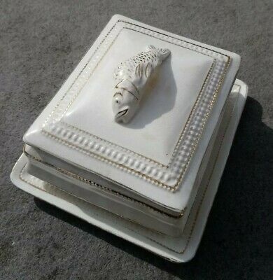 Antique Sardine Finial Dish / Box Cream Three Piece - Stamped Fife  • 34£