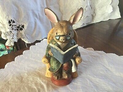 Vintage Bisque Pottery Easter Bunny Gentleman Grandpa Figure Reading Story Book • 1.99£