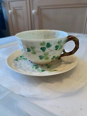 Belleek Black 2nd Mark Shamrock Pattern Cup And Saucer Irish • 20£