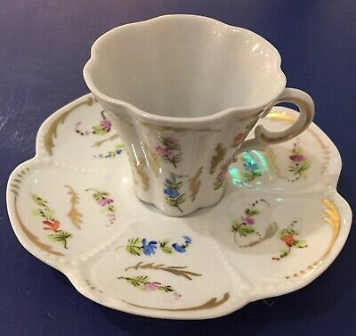 Vintage Limoges Peint A La Main Coffee Can And Saucer • 15£