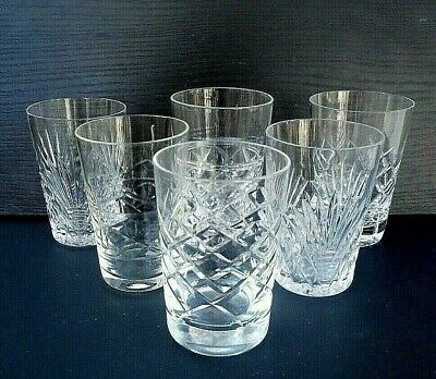 6 Mismatched Cut Crystal & Glass Small Whisky / Pony Glasses - 8.5 Cms (3.35 ) • 14.99£