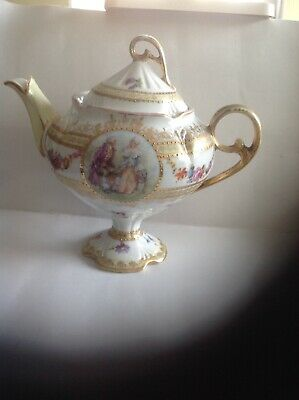 St Kilian Germany Porcelain Gilded Courting Couple 3/4 Pint Teapot,1-2 Cup • 29.99£