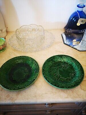 Pair Of Green Ceramic Plates, Practical Or Ornamental • 7.99£