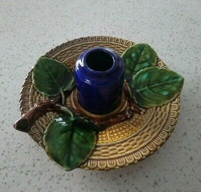 Antique Majolica Chamberstick Candlestick Leaves & Branches  • 32£