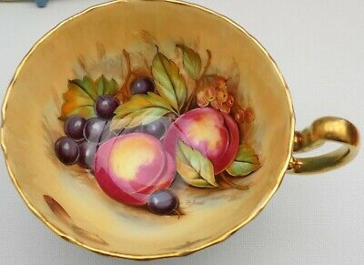 Aynsley Orchard Fruit Fluted Cabinet Cup & Saucer Turquoise Signed D Jones • 38£