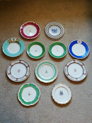 A Collection Of Eleven Antique 19th Century Armorial Porcelain Plates/Dishes • 30£