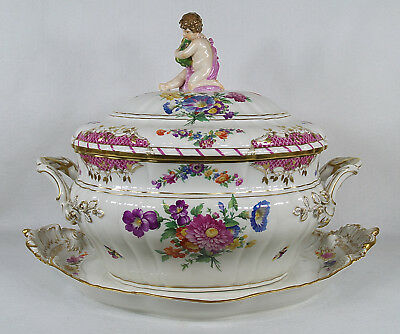 Antique KPM Germany Berlin Porcelain Soup Tureen With Platter Tray • 2,084.66£
