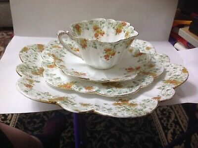 4x Shelley,Foley China,Gilded Trailing Daisies,6948,Cup,saucer,side Plate,plate • 16.50£