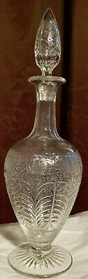 Large Rare Walsh Walsh? Rock Crystal Engraved Glass Decanter Matched Stopper • 65£