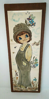 JERSEY POTTERY 3 Tile Decorative Picture Mounted Girl With Birds & Flowers • 10£