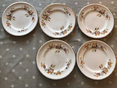 5 Swinnertons Staffordshire 8inch Dinner Plates Majestic Vellum Made In England • 6.99£