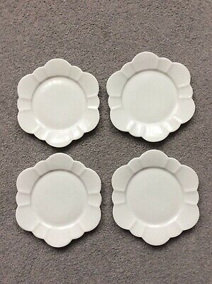 4 X LATE FOLEY SHELLEY WHITE CAKE PLATES D 15cm VGC • 12£