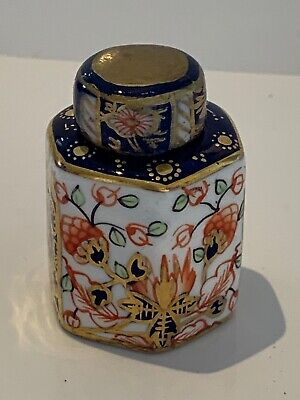 Antique Victorian Miniature Tiny Royal Crown Derby Imari Tea Caddy Canister • 105£