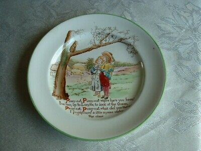 Henry Alcock & Co Ltd Child's Plate England 1900/1910 Cat Children Tree Cottage • 15£