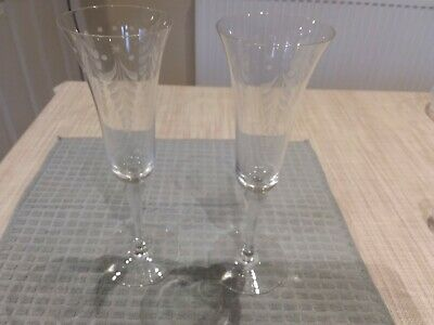 Pair Of Laura Ashley Glass Tall Champagne Glasses • 7.50£