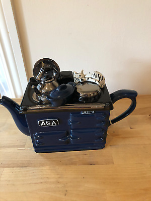 Stunning Aga Navy Teapottery Teapot Excellent Condition • 80£