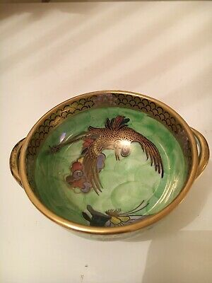 Vintage Maling Cetem Ware Twin Handled Bowl Green And Gold Lustre Gilded,Maling • 59.99£