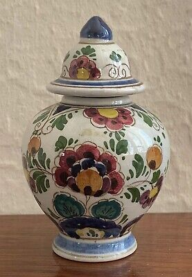 Delft Dutch Polychrome Hand Painted Vase And Cover • 0.99£
