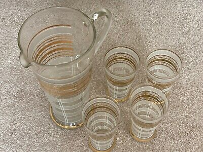 Large Vintage Glass Water Jug And 4 Glasses With Gold Stripes • 2.20£