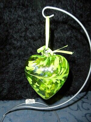 Birthstone Glass Heart By Amelia Glass August Peridot 8cm - Gift Handmade - Orb • 12.99£