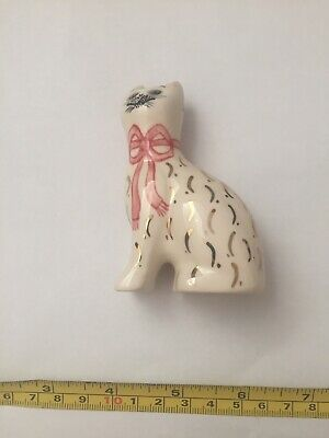 Griselda Hill Pottery Wemyss White Cat With Pink Bow & Gold - A Beautiful Item • 40£