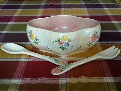 Maling England Pearl Pink Lustre China Salad Bowl Serving Spoon & Fork Floral • 21£