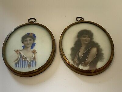 Pr Art Deco Hand Painted Miniature Portraits Frames On Glass 1930's Pictures • 9.99£