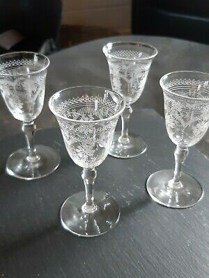 Victorian Etched Sherry Glasses Set Of Four • 6.10£