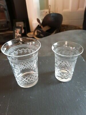 Pair Of 1900s Acid Etched Glasses Stamped Wells Made In England • 5£