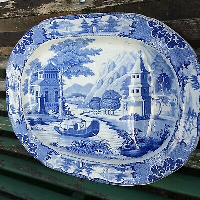 Large Victorian Blue & White Meat Platter 19  • 85£