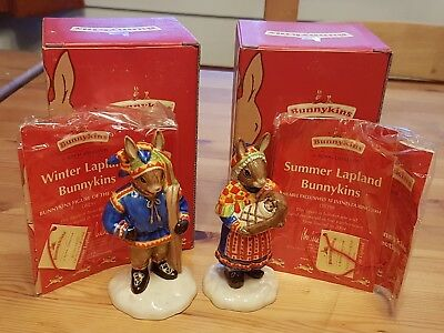 Brand New A Pair Of Royal Doulton Bunnykins Figurines Summer And Winter Lapland • 12£
