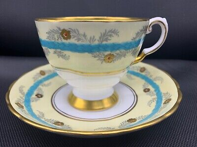 TUSCAN Fine Bone China D1435 FOOTED TEACUP & SAUCER MADE IN ENGLAND Yellow Aqua • 15.39£