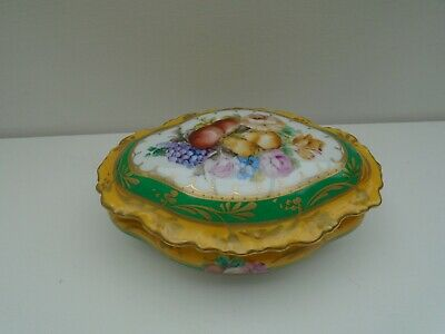 Lec Limoges Hand Painted Trinket Box With Fruit & Flower Decoration • 45£