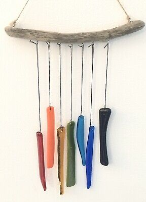 Rainbow Fused Glass Wind Chime Driftwood - Hang In Window Support Nhs • 14£